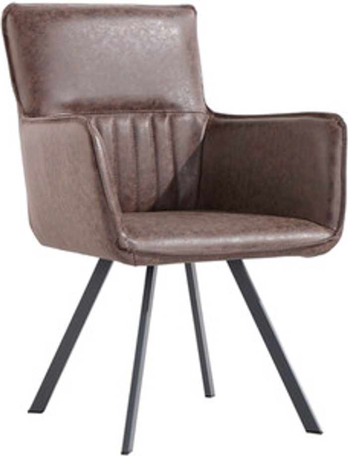 The Range Pair of Carver Dining Chairs With Angled Legs - Brown