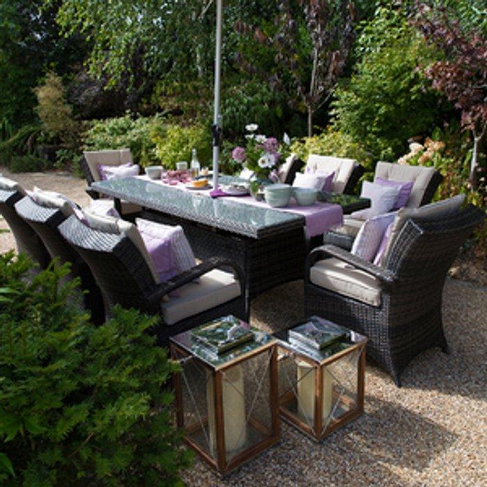 Nova Outdoor Living Olivia 8 Seater Rattan Rectangular Dining Set - Brown