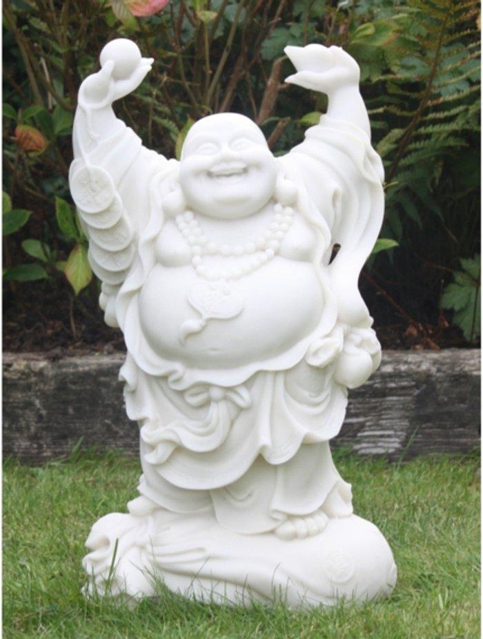 Enigma Hands Up Buddha - White