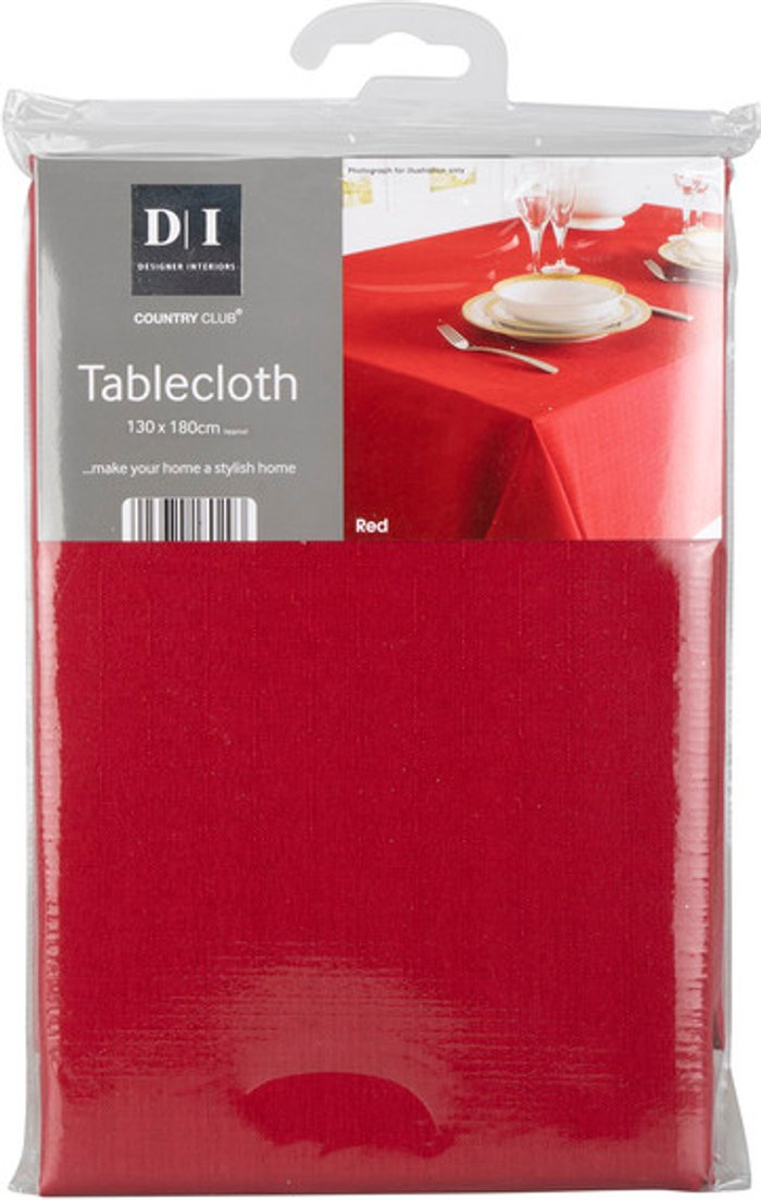 Country Club Linen Texture Tablecloth - Red / 180cm