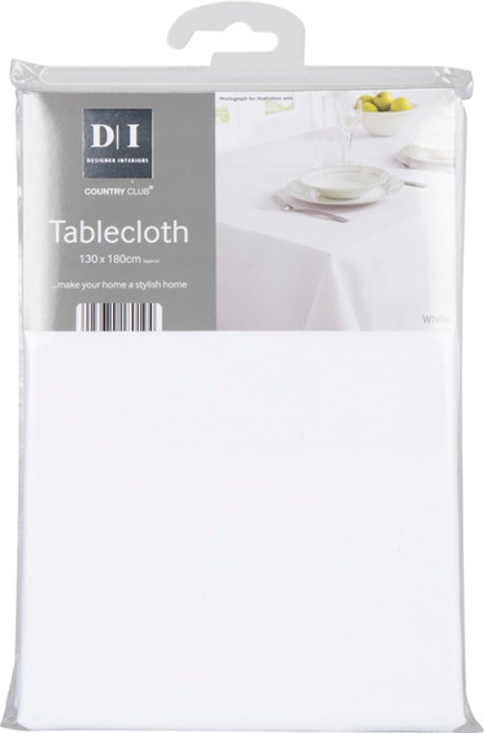 Country Club Linen Texture Tablecloth - White / 180cm