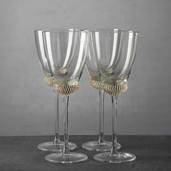 The Range Set of 4 Silver Diamante Wine Glasses
