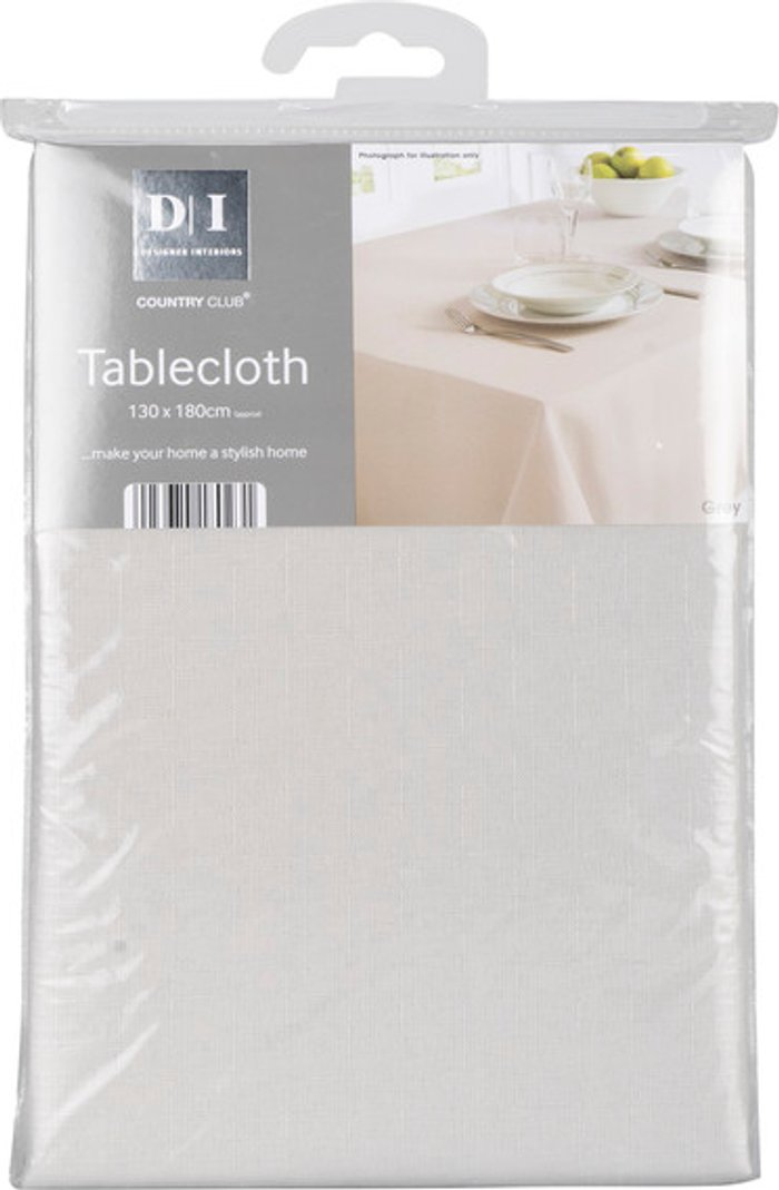 Country Club Linen Texture Tablecloth - Grey / 180cm