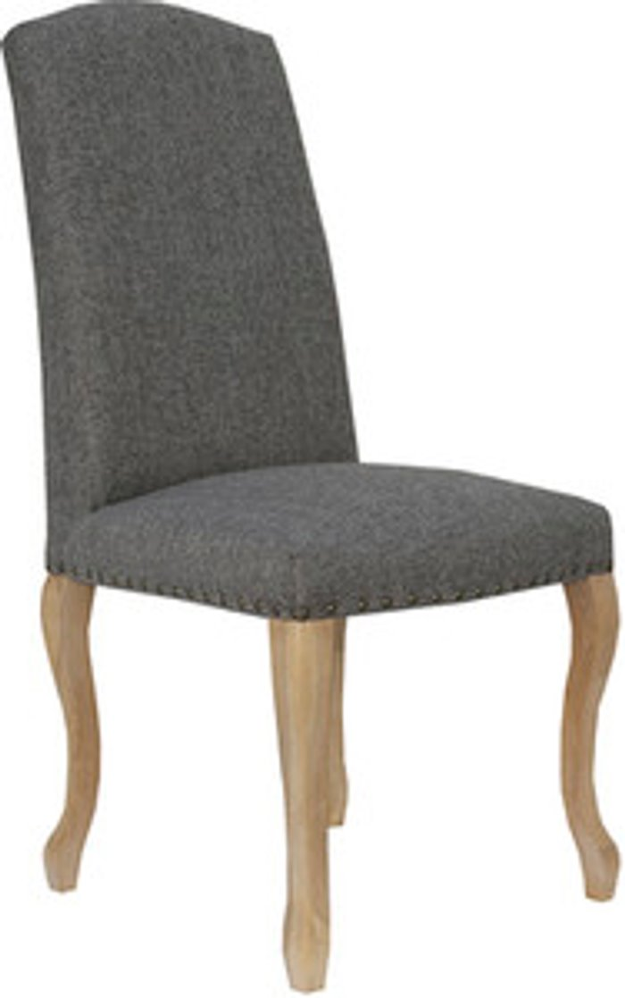 The Range Pair of Luxury Chairs with Carved Oak Legs - Dark grey