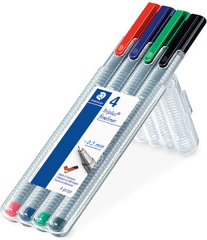 Staedtler Pack of 4 Staedtler Triplus Fineliner Pens