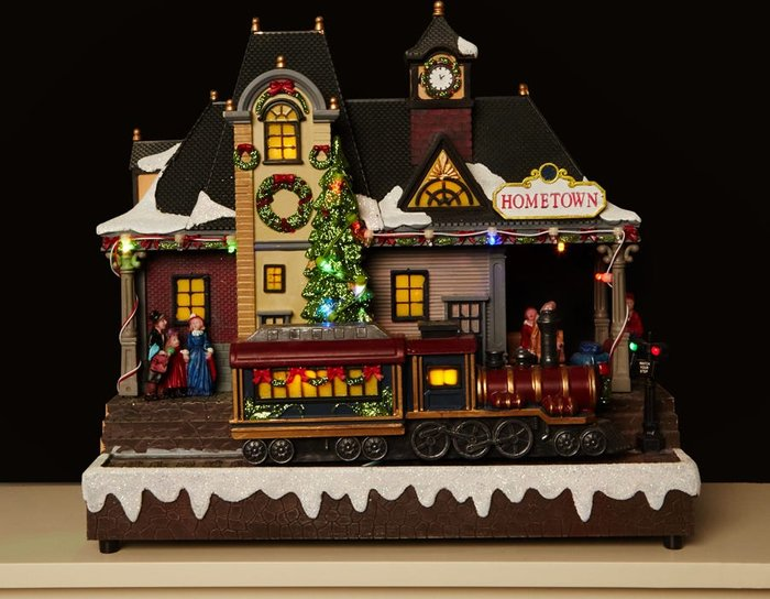 Train Train Station Village Scene Christmas Decoration Battery Operated With Lights And Music