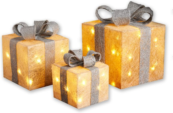 Premier Decorations Premier Decorations Premier LED 3-Piece Glitter Parcels Mains Powered - Gold/Silver