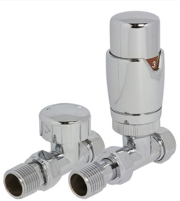 Towelrads Towelrads Heating Style Round Straight TRV and LS Radiator Valves - Chrome