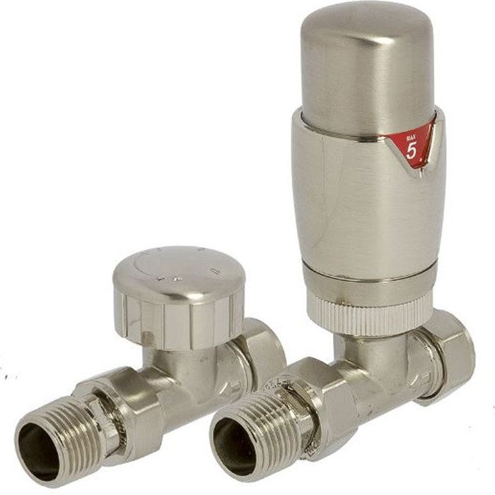 Towelrads Towelrads Heating Style Round Straight TRV and LS Radiator Valves - Brushed Nikel