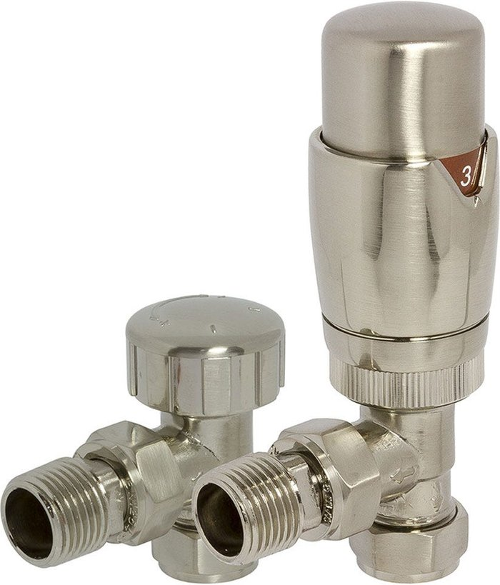 Towelrads Towelrads Heating Style Round Angled TRV and LS Radiator Valves - Brushed Nikel