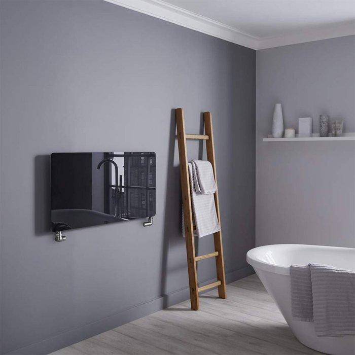 Towelrads Towelrads Vetro Frame 100 X 500 mm Glass Radiator 1621B - Black