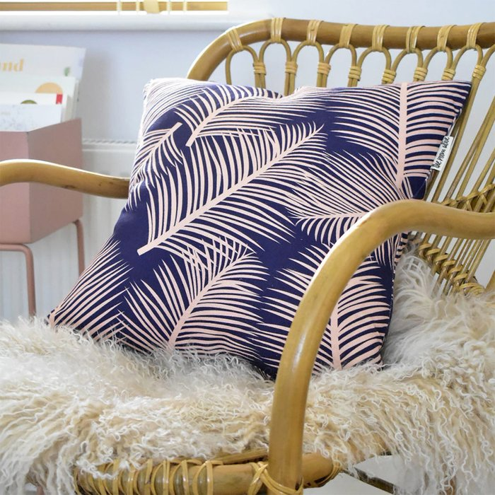 The Room Alive The Room Alive Palm Leaf Garden Cushion Cotton Linen Pink on Navy Blue 45 x 45cm