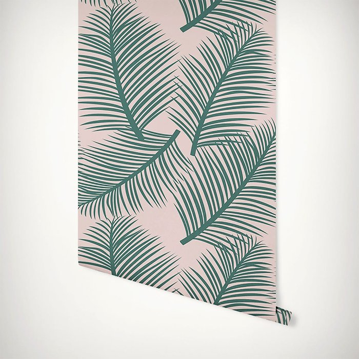 The Room Alive The Room Alive Palm Leaf Garden Green on Blush Wallpaper 52cm x 10m