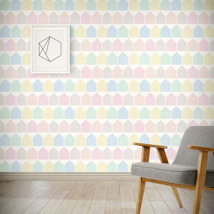 The Room Alive The Room Alive Beach Huts Pastel Wallpaper for Children