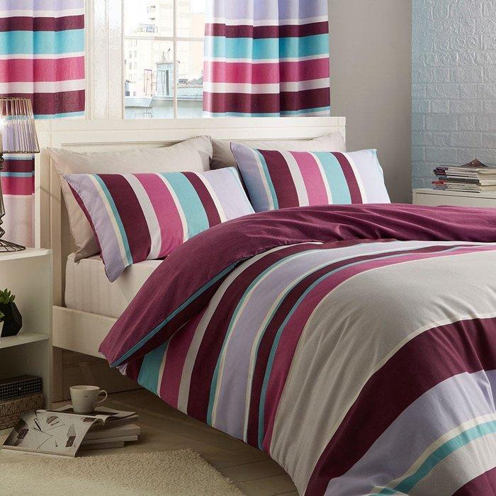 Catherine Lansfield Catherine Lansfield Modern Textured Stripe King Duvet Set - Multi