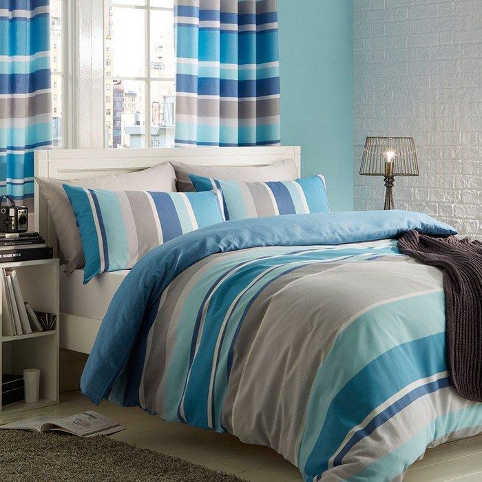 Catherine Lansfield Catherine Lansfield Modern Textured Stripe Double Duvet Set - Blue