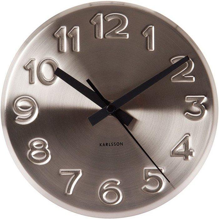 Karlsson Karlsson Engraved Wall Clock - Silver