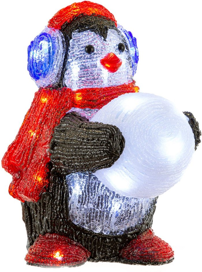 30cm Acrylic Penguin with Snowball/30 Ice White LEDs