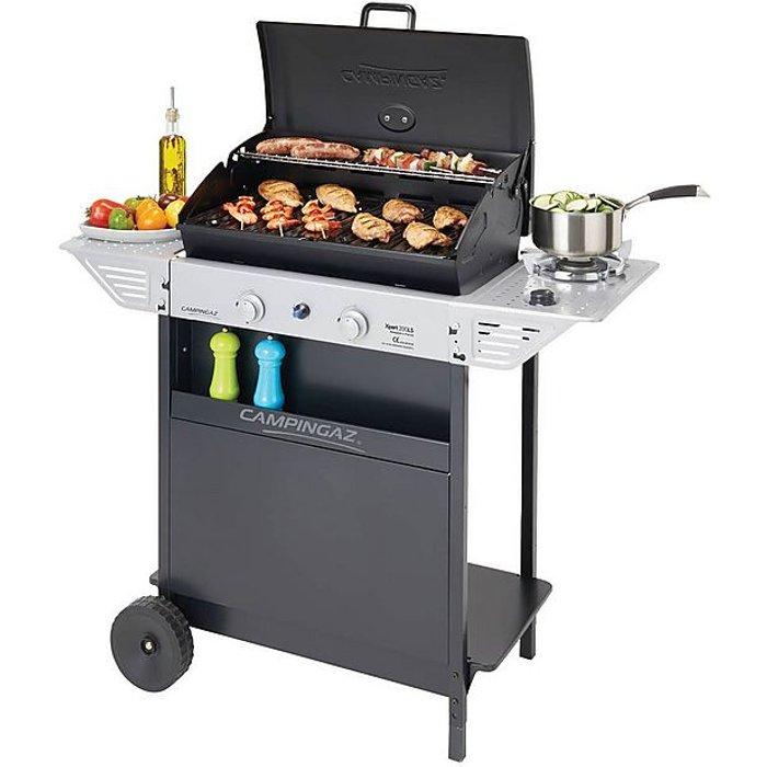 Campingaz Campingaz  Gas BBQ Xpert 200 LS, Compact 2+1 Burner Gas Barbecue Grill, 2 Stamped Steel Grids, Side Table and Steel BBQ Trolley