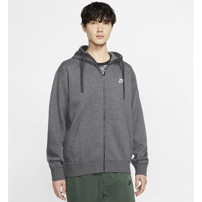 Nike Mens Nike Club Zip Through Hoody -  Grey