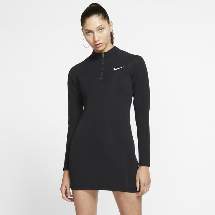 Nike Womens Nike Long Sleeved 1/4 Zip Dress -  Black