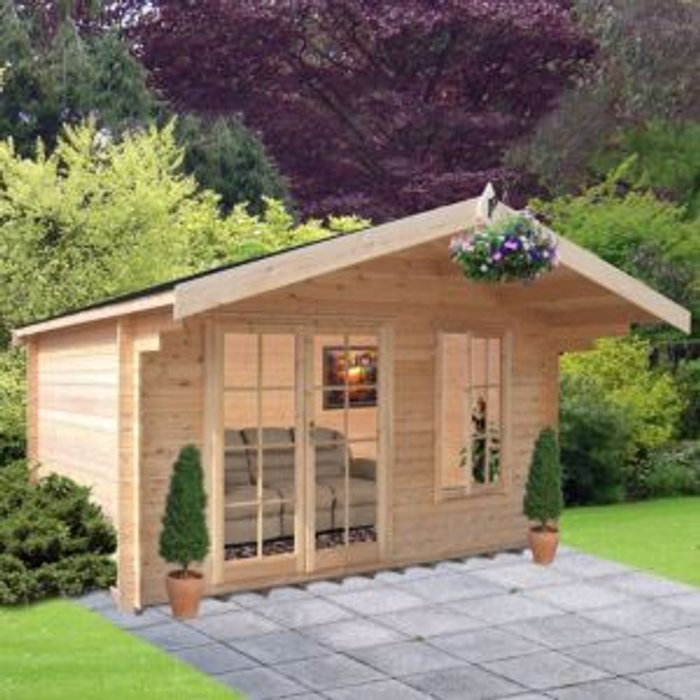 Shire 10x8 Cannock 28mm Tongue & Groove Log cabin with felt roof tiles With assembly service