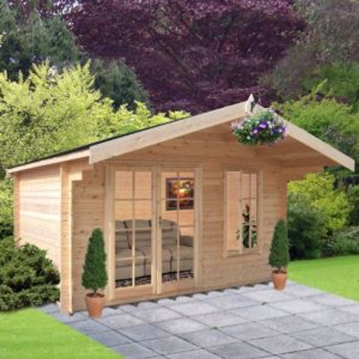 Shire 10x10 Cannock 28mm Tongue & Groove Log cabin with felt roof tiles With assembly service