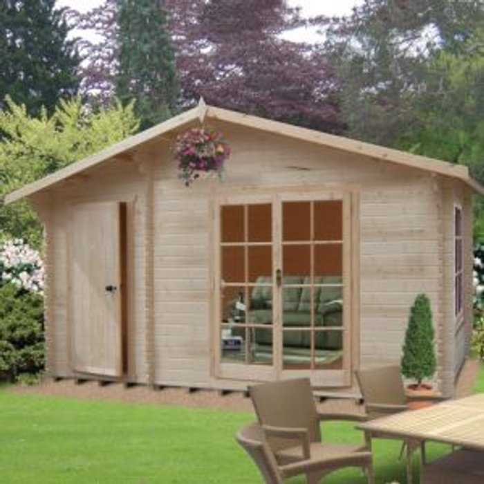 Shire 14x12 Bourne 28mm Tongue & Groove Log cabin with felt roof tiles