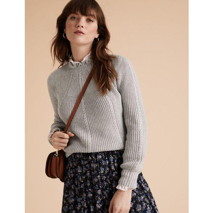 Cotton Cable Knit Blouson Sleeve Jumper grey
