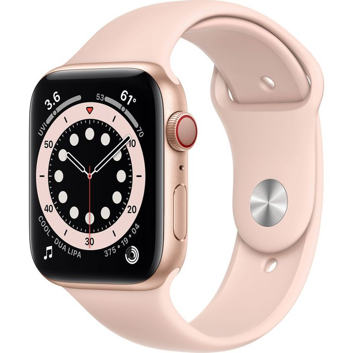 Save £20.00 - APPLE Watch Series 6 Cellular - Gold Aluminium with Pink Sand Sports Band, 44 mm, Gold