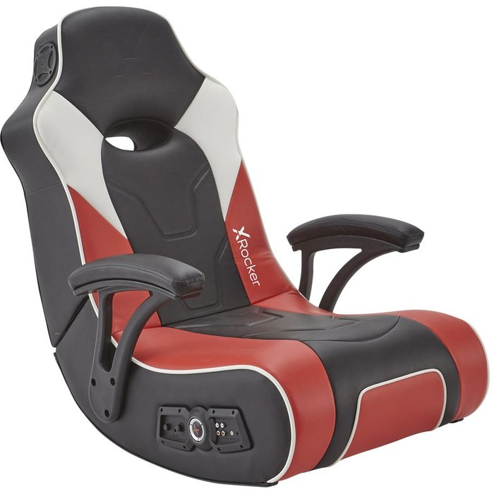 Save £20.00 - X ROCKER G-Force 2.1 Floor Rocker Gaming Chair - Black, Red & White, Black