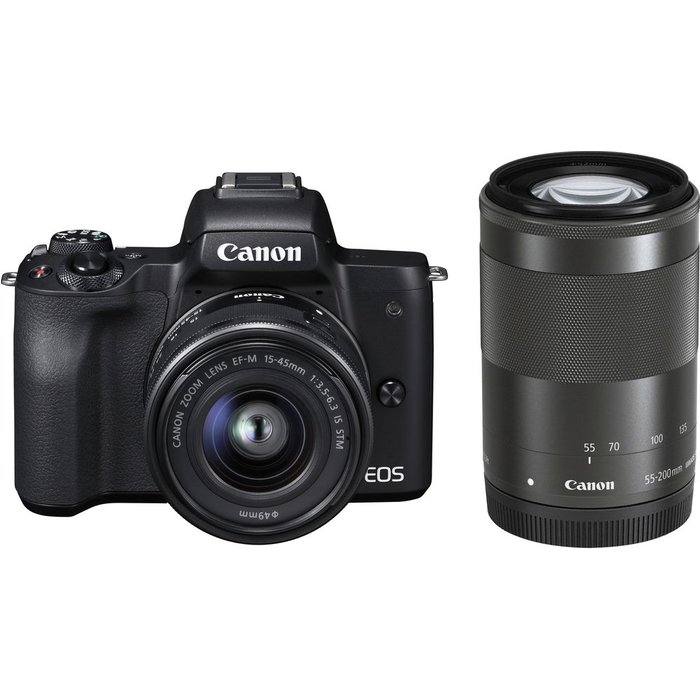 Save £150.00 - Canon EOS M50 Mirrorless Camera with EF-M 15-45 mm f/3.5-5.6 IS STM & 55-200 mm f/4.5-6.3 IS STM Lens