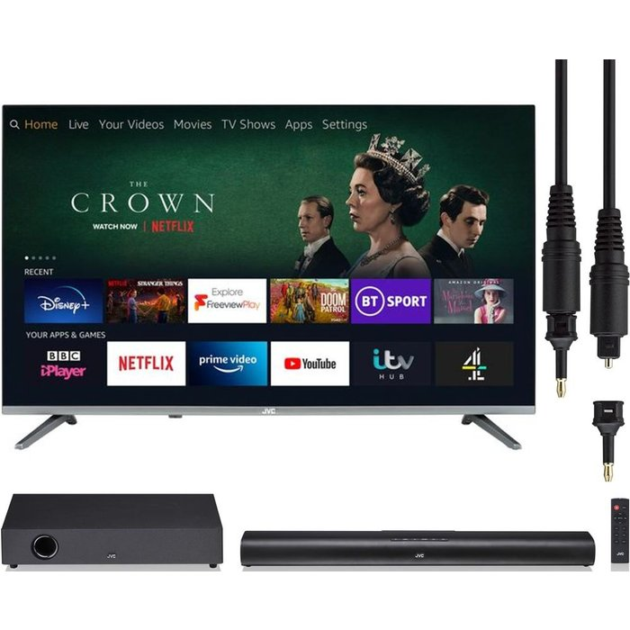 JVC LT-43CF700  Smart Full HD HDR LED TV with 2.0 Compact Sound Bar & Optical Cable Bundle, Gold