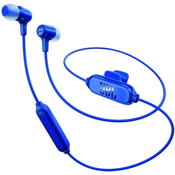 JBL JBL E25BT in-ear Wireless Bluetooth Headphones, Universal Remote wBuilt-In Microphone, 8 Hours Music Playback - Blue