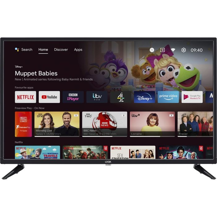 "Save £30.99 - 32"" LOGIK L32AHE19 Android TV  Smart HD Ready LED TV with Google Assistant"