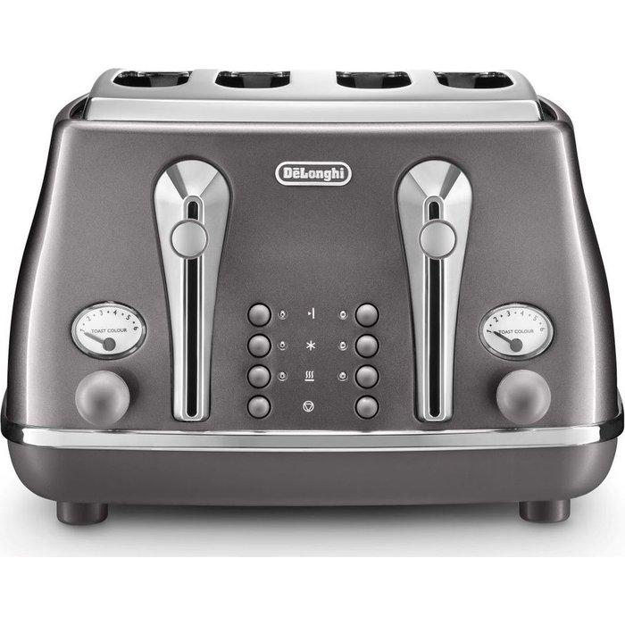 HALF PRICE! DELONGHI Icona Metallics CTOT4003.GY 4-Slice Toaster - Grey, Grey