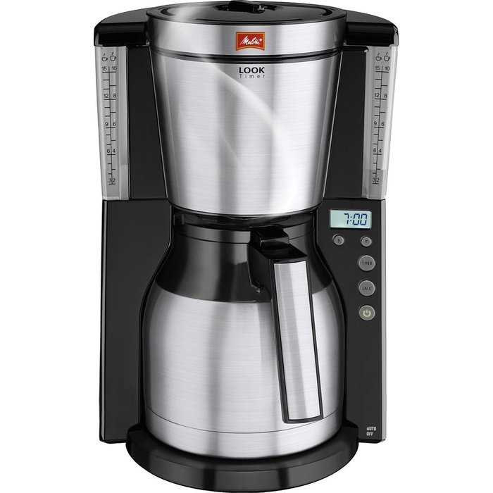 Save £13.00 - MELITTA Look IV Therm Timer Filter Coffee Machine - Black & Stainless Steel, Stainless Steel