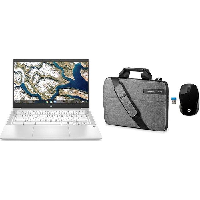 "Save £75.01 - HP 14"" Chromebook, Messenger Bag & Wireless Mouse 200 Bundle - Intelu0026regCeleron, 64 GB eMMC, Silver, Silver"
