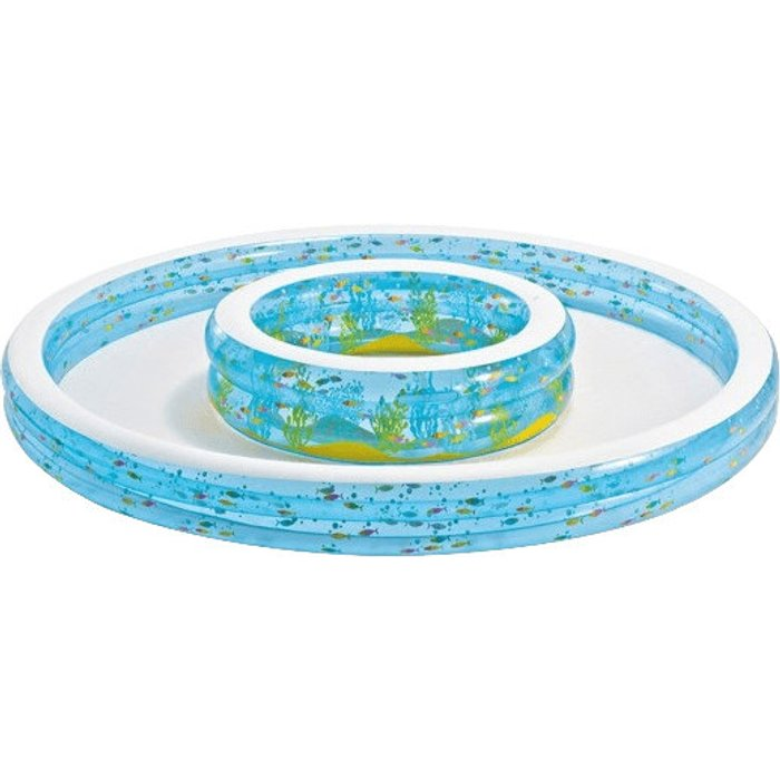 Intex Intex Inflatable Paddling Pool in Wishing Well shaped Design. Comes with built-in sprayers to attach to garden hose and fun fishy wall designs. Must have paddling pool for any backyard