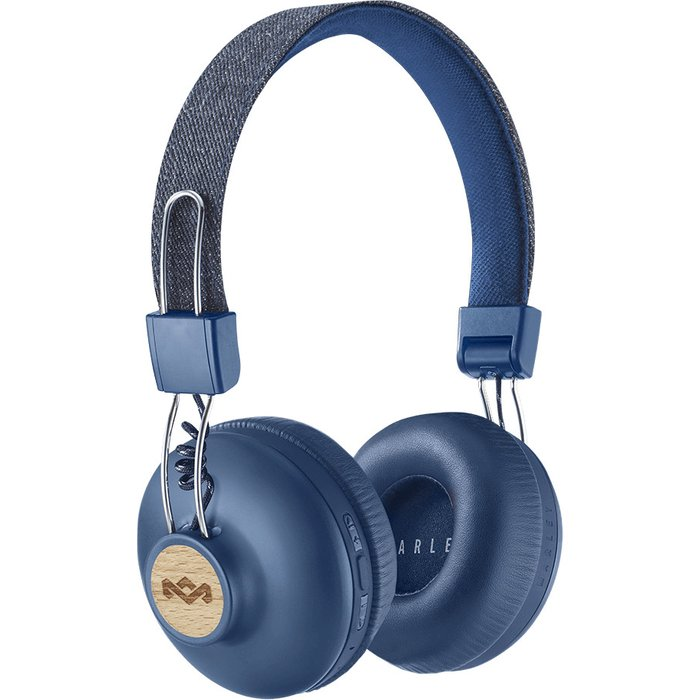 House Of Marley House Of Marley Positive Vibration 2 Wireless Bluetooth On Ear Headphones - Recycled Materials, Sustainably Sourced Materials Supporting Global Reforestation, 10 Hour Battery - Denim