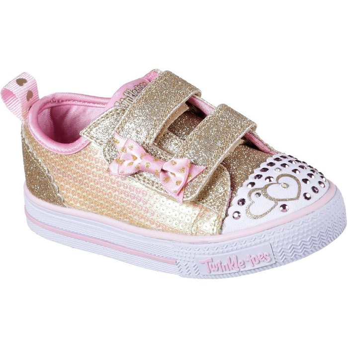 Skechers Skechers Twinkle Toes Shuffles Itsy Bitsy (10764N) gold sequin textile/pink trim