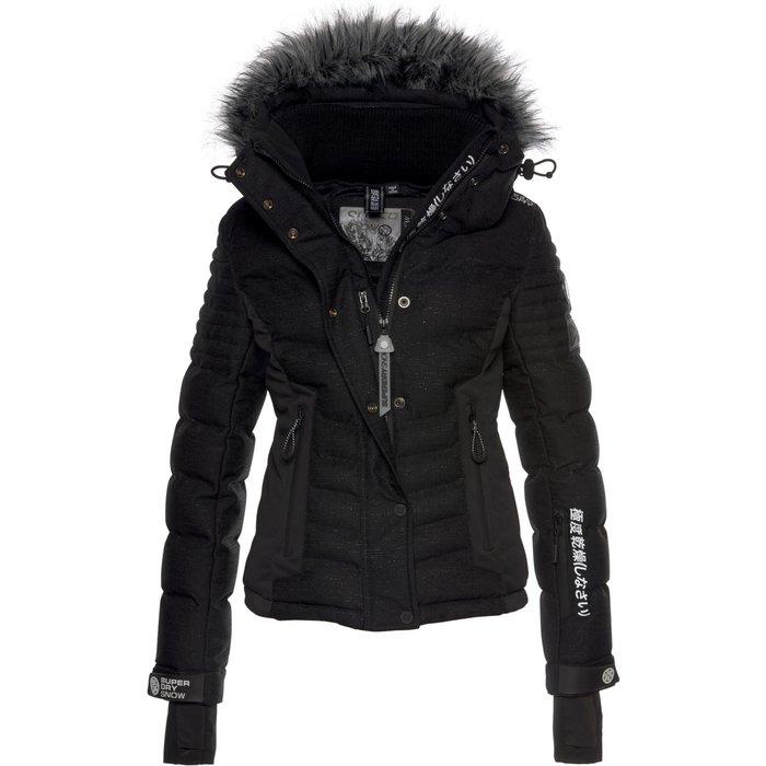 Superdry Womens Superdry Black Lux Snow Jacket -  Black