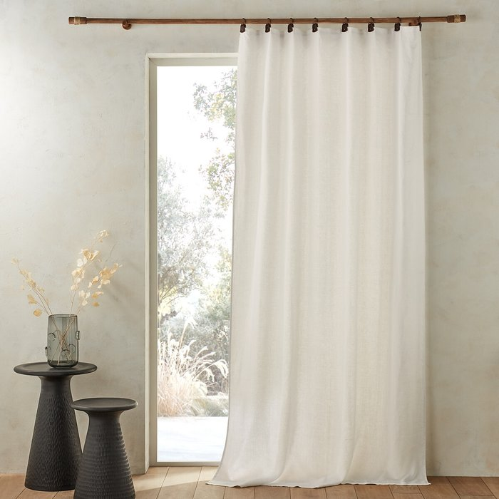 Private Single Washed Linen Curtain with Leather Tabs