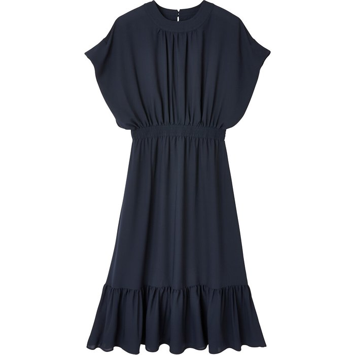 Recycled Midaxi Dress with Short Ruffled Sleeves