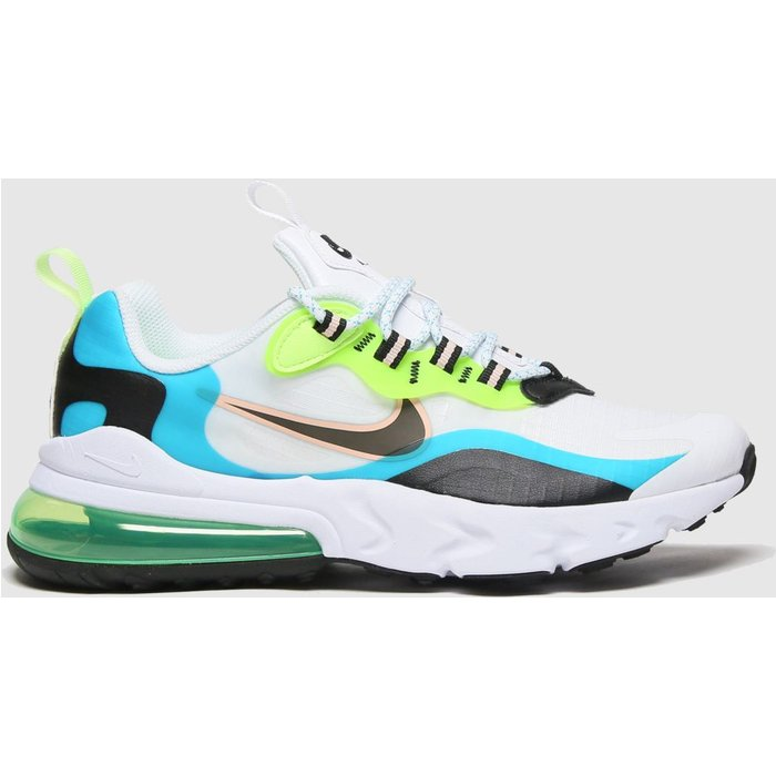 Nike White & Green Air Max 270 React Se Trainers Youth
