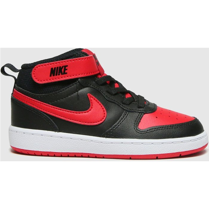 Save 30% - Nike Black & Red Court Borough Mid 2 Trainers Toddler