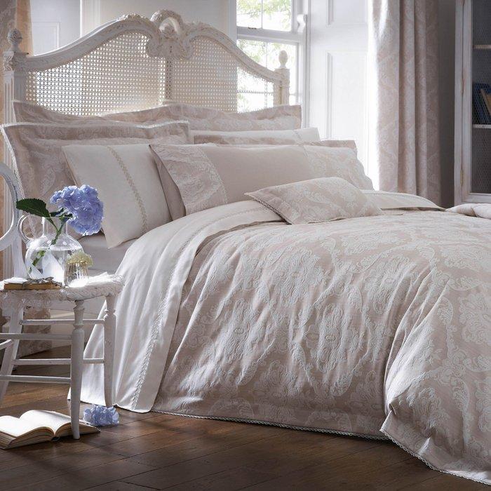 Dorma Aveline Jacquard Natural Duvet Cover Natural Brown