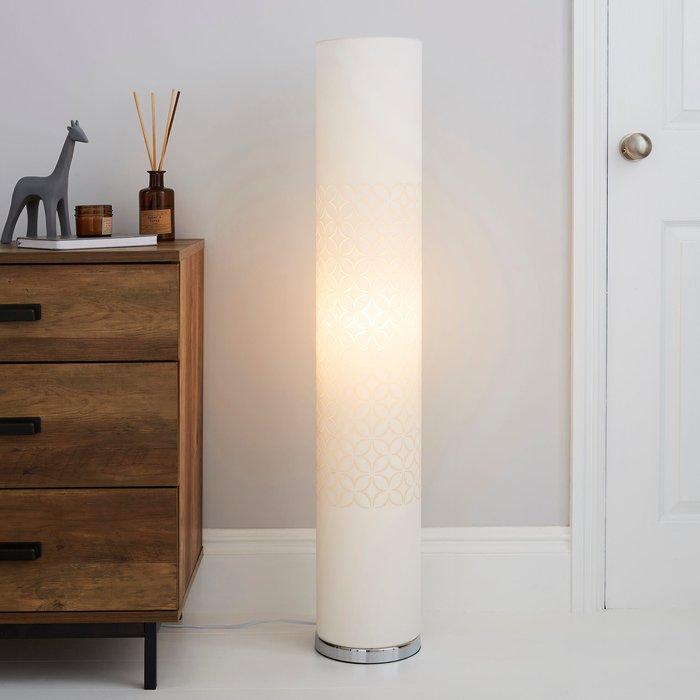 Geo Flower Cut Out White Floor Lamp White