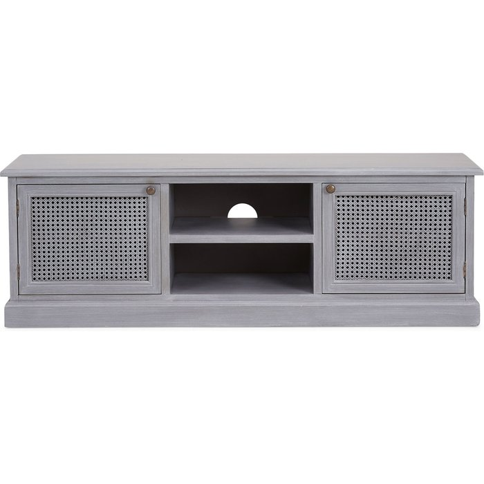 Lucy Cane Grey Wide TV Stand Slate (Grey)