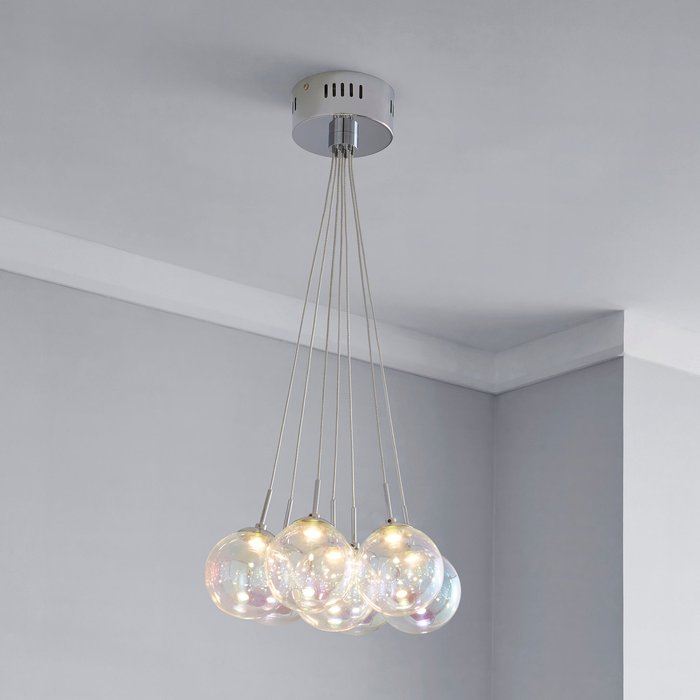 Elmira 7 Light Bubble Glass Cluster Ceiling Fitting Silver